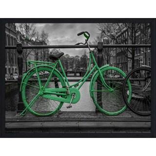 """Amsterdam Green Bike"" Framed Plexiglass Wall Art"