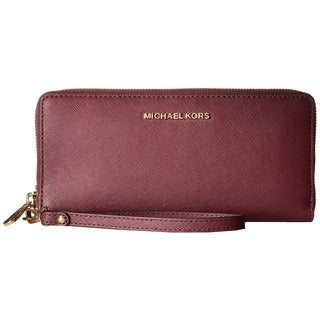 Michael Kors Jet Set Plum Leather Travel Continental Wallet