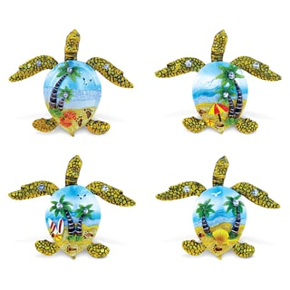 Puzzled Sea Turtle Silver Beach Resin Refrigerator Magnets (Set of 4)