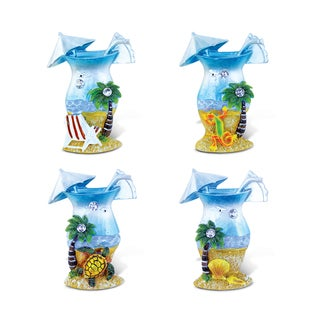 Puzzled 'Glass' Multicolor Resin Refrigerator Silver Beach Magnets (Pack of 4)