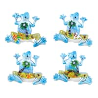 Puzzled Frog Silver Beach Resin Refrigerator Magnets (Set of 4)