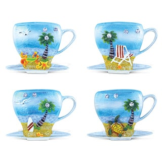 Puzzled Multicolored Resin Cup and Silver Beach Refrigerator Magnet (Pack of 4)