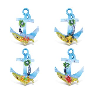 Puzzled Silver Beach Multicolor Resin Anchor Refrigerator Magnets (Pack of 4)