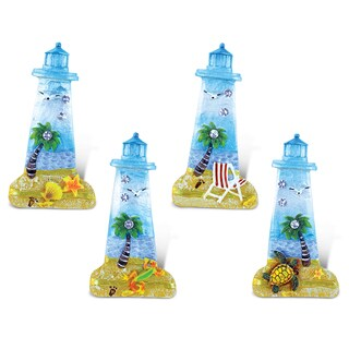 Puzzled Lighthouse Multicolor Resin Beach Refrigerator Magnets - Set of 4