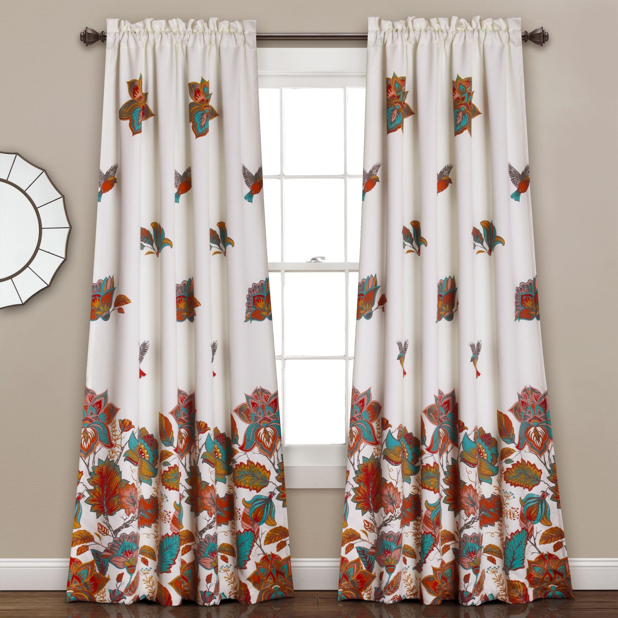 Lush Decor Bird and Flower Room Darkening Window Curtain ...