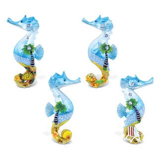 Puzzled Sea Horse Silver Beach Resin Refrigerator Magnet (Set of 4)