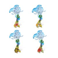 Puzzled Inc. Mermaid Silver Beach Multicolored Resin Refrigerator Magnet (Pack of 4)