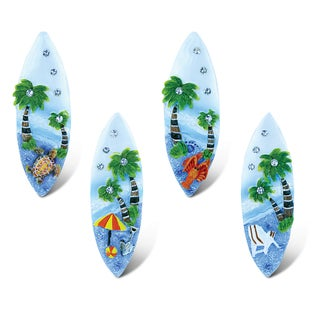 Puzzled Blue Sand Multicolor Resin Surfboard Refrigerator Magnets (Pack of 4)