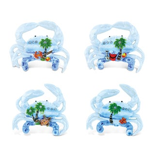 Puzzled Crab Multicolor Resin Refrigerator Blue Sand Magnets (Pack of 4)