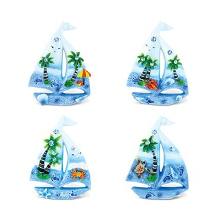 Puzzled Sailing Boat Multicolor Resin Refrigerator Blue Sand Magnets (Pack of 4)
