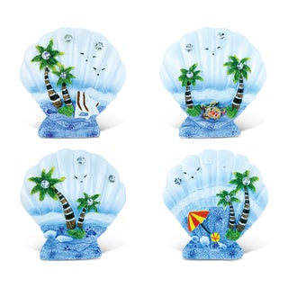 Puzzled Inc. Blue Sand Shell Refrigerator Magnets (Set of 4)
