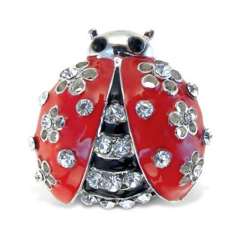 Puzzled Metal Ladybug Sparkling Refrigerator Magnet