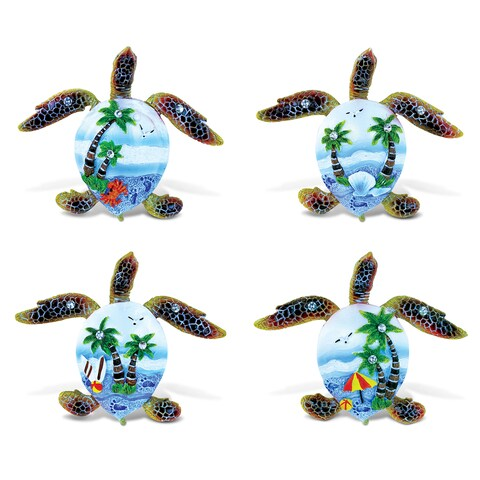 Puzzled Blue Resin Sea Turtle Refrigerator Magnet (Set of 4)