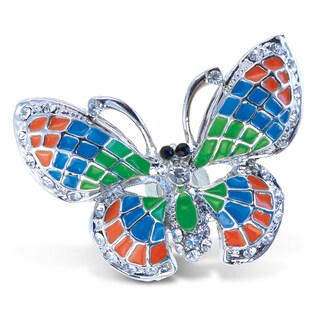 Puzzled Sparkling Metal Butterfly Refrigerator Magnet with Multicolored Crystals
