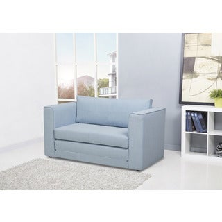 Corona Sky Blue Convertible Loveseat Sleeper