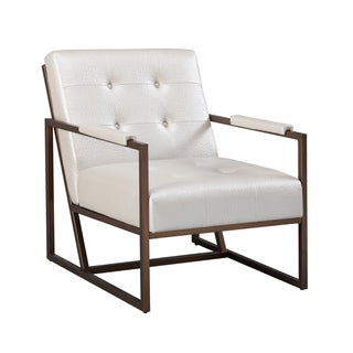 Strick & Bolton Normani White Faux Leather Lounge Chair