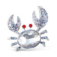 Puzzled Crystal Metal Crab Refrigerator Magnet