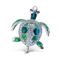 Puzzled Sea Turtle Multicolor Metal Refrigerator Sparkling Magnets with Crystals