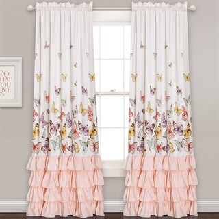 Lush Decor Flutter Butterfly Window Curtain Panel Pair