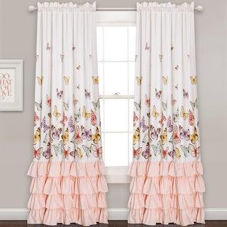 Lush Decor Flutter Butterfly Window Curtain Panel Pair