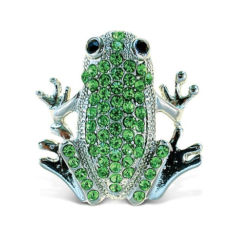 Puzzled Frog with Crystals Sparkling Refrigerator Magnet