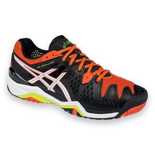 Asics Men's Gel Resolution 6 Black and Orange Synthetic Tennis Shoe