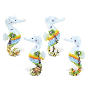 Puzzled Inc. Seahorse Sunset Multicolored Resin Refrigerator Magnet (Pack of 4)