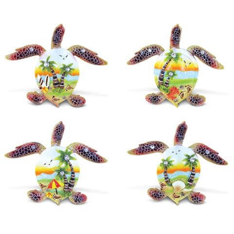 Puzzled Sea Turtle Sunset Resin Refrigerator Magnet (Set of 4)