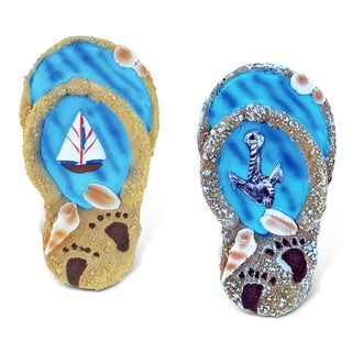 Puzzled Flip Flop Blue Wave Resin Refrigerator Magnet (Set of 2)