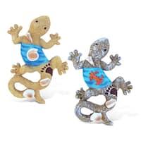 Puzzled Gecko Multicolor Resin Refrigerator Blue Wave Magnets (Set of 2)