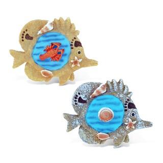 PuzzledFish Refrigerator Blue Wave Magnets (Set of 2)