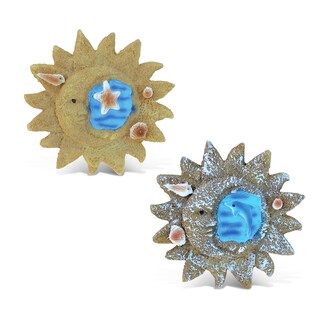 Puzzled Sun Multicolor Resin Refrigerator Blue Wave Magnets (Set of 2)