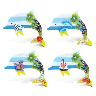 Puzzled Resin Dolphin Refrigerator Beachwood Magnet (Set of 4)