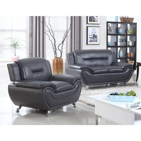 Shop Alice Modern Faux Leather Loveseat And Chair Set 2