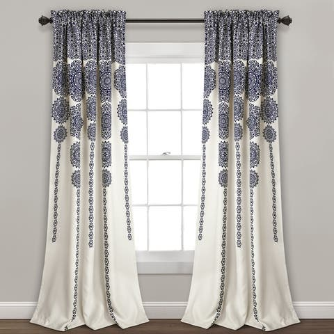 Lush Decor Stripe Medallion Room Darkening Curtain Panel Pair