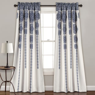 Lush Decor Stripe Medallion Room Darkening Window Curtain Panel Pair