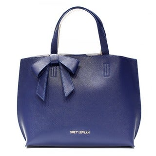 Suzy Levian Saffiano Faux Leather Mini Tote Bag with Bow - M