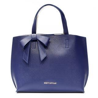 Suzy Levian Saffiano Faux Leather Mini Tote Bag with Bow
