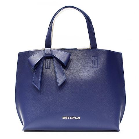 Suzy L. Saffiano Faux Leather Mini Tote Bag with Bow