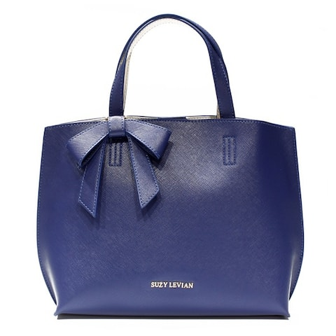 Suzy L. Saffiano Faux Leather Mini Tote Bag with Bow
