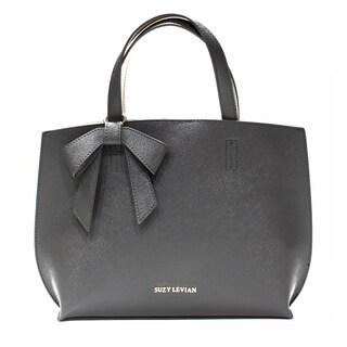 Suzy Levian Saffiano Faux Leather Mini Tote Bag with Bow - M
