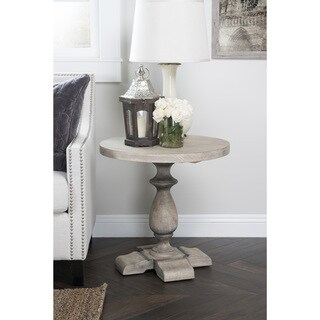 Wakefield Rustic Grey Reclaimed Pine Round Side Table by Kosas Home
