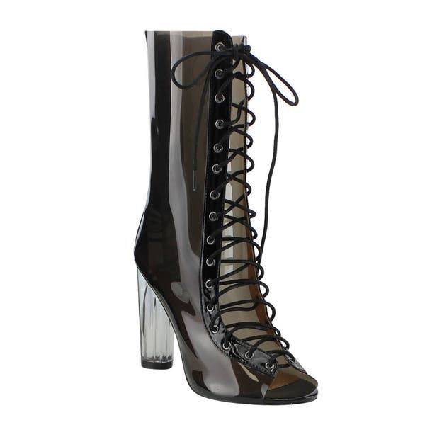 66a01c23a2e88 Cape Robbin Women's Lucite Multicolored PVC Peep Toe Corset Lace Up Mid-calf  Boots