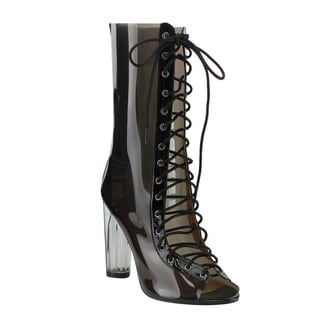 Cape Robbin Women's Lucite Multicolored PVC Peep Toe Corset Lace Up Mid-calf Boots