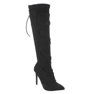 Anne Michelle Women's ED58 Black Knee-high Lace Up High Stiletto Heel Boots