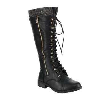 Forever GF55 Women's Faux Leather Knitted Collared Lace-up Lug-sole Knee-high Zipper Combat Boots