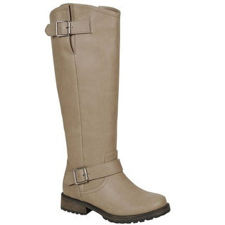 Breckelle's Women's ED45 Adjustable Strap Stack Chunky Knee-high Riding Boots