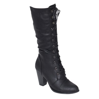 Forever GF54 Women's Lace-up Stacked Chunky Heel Knee-high Boots
