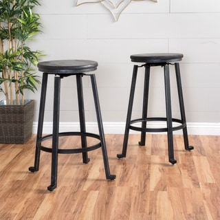 Lolita 27-inch Rustic Iron Bastool (Set of 2) by Christopher Knight Home