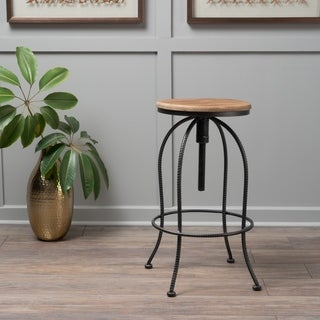 Aleena Adjustable Metal Barstool by Christopher Knight Home
